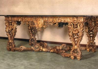 Tavolo in legno scolpito dorato oro zecchino 24k, Francia '700