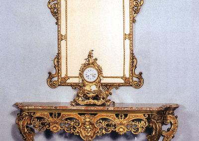 Console in legno scolpito e dorato oro zecchino 21 krt
